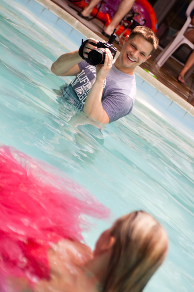 Loren in pool with Shayne