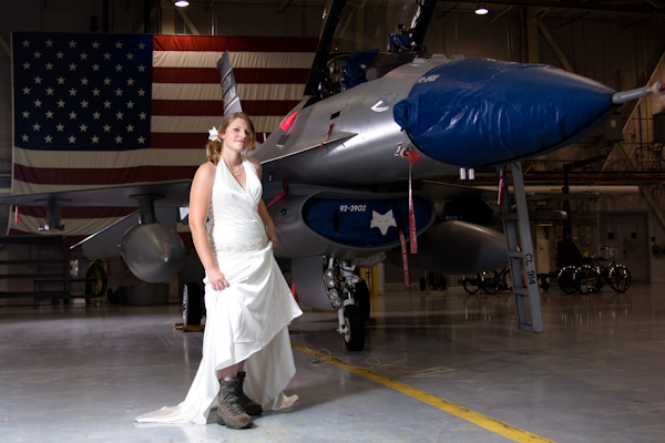 Lauren with combat boots and F-16