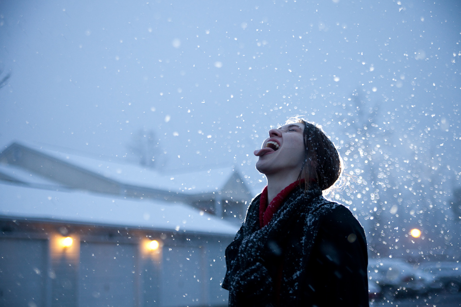 Wendy catching snowflakes on her tongue