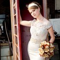 Bride in a phonebooth