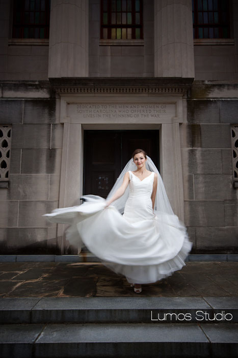 Bride twirling on USC campus