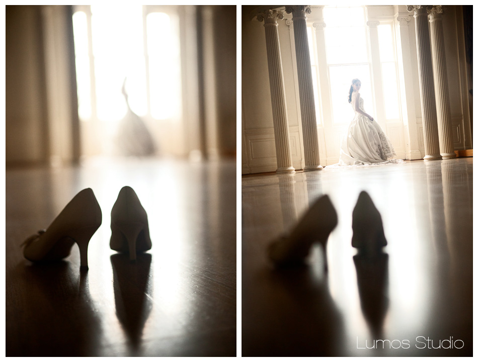 Bride's shoes at society hall in Charleston, SC