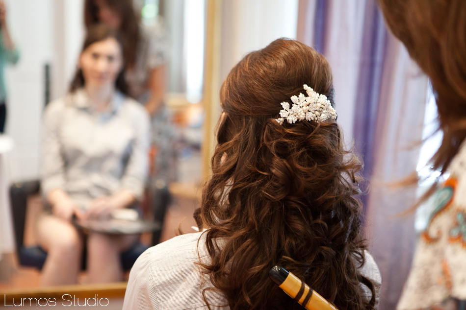 Bride getting her hair done at Stella Nova in Charleston, SC