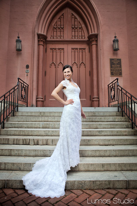 Bride on the steps of First Presbyterian Church