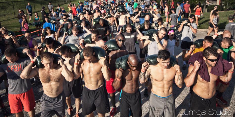 Runners getting ready for the Famously Hot Showdown sandbag run