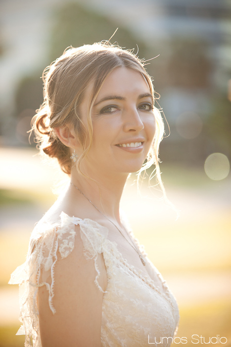 Beautiful bride backlit