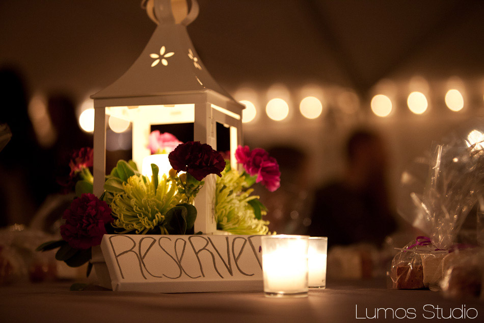 Centerpiece with candles and flowers