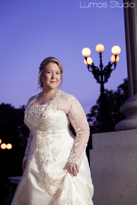 Statehouse bridal with purple sky