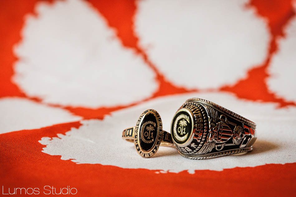Clemson class rings on the wedding day