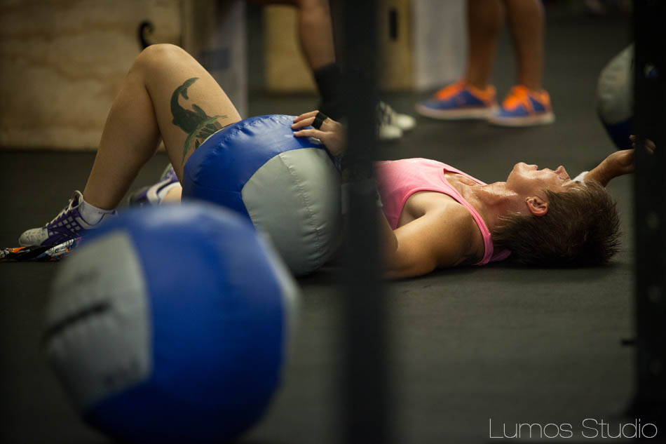 An exhausted athlete at Carolina CrossFit's Famously Hot Showdown