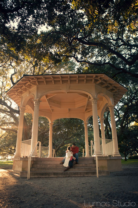 Ana and Peter in the gazebo at White Point Gardens