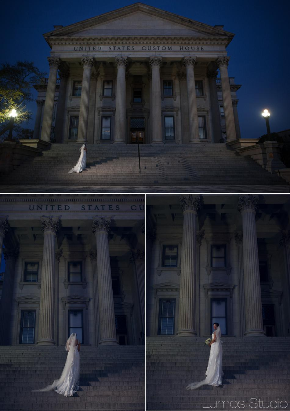 Ana at the Custom House at night