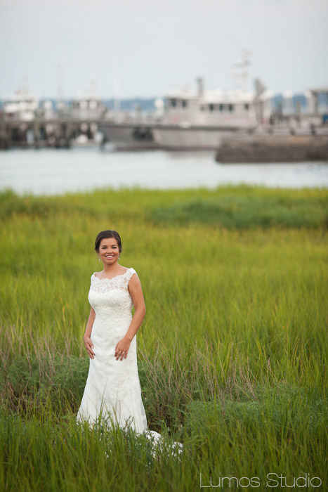 Bride by the docks in Charleston, SC